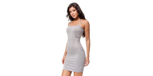 Šedivé pouzdrové šaty Guess