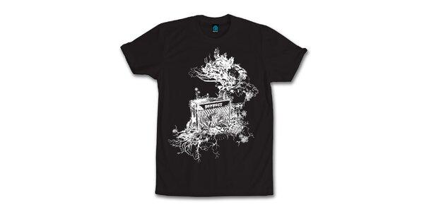 Pánské černé tričko s originálním potiskem Dephect