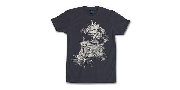 Pánské antracitové tričko s originálním potiskem Dephect