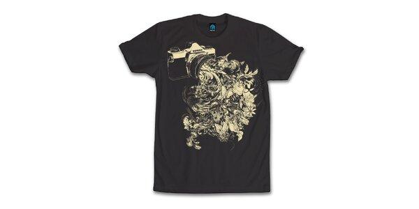 Pánské černé tričko s kvetoucím objektivem Dephect