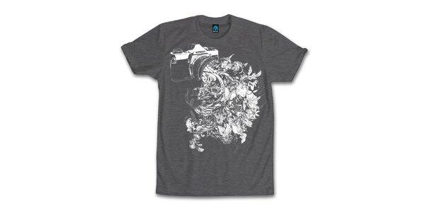 Pánské tmavě šedé tričko s kvetoucím objektivem Dephect