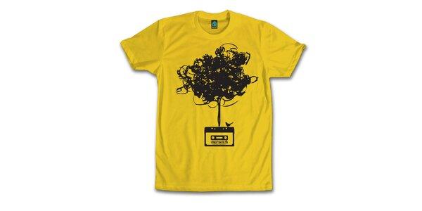 Pánské banánově žluté tričko s vymotanou kazetou Dephect