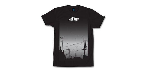 Pánské černé tričko s houfujícími se ptáky Dephect