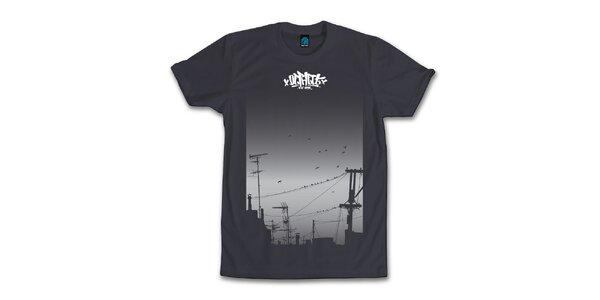 Pánské antracitové tričko s houfujícími se ptáky Dephect