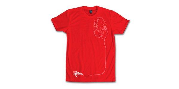 Pánské červené tričko se sluchátkovou hádankou Dephect