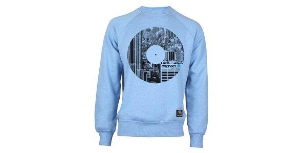 Pánská světle modrá mikina s potiskem vinylu Dephect