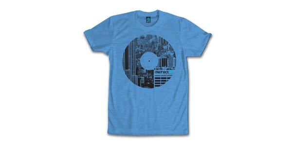 Pánské modré tričko s potiskem vinylu Dephect