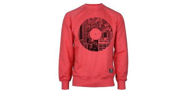Pánská červená mikina s potiskem vinylu Dephect