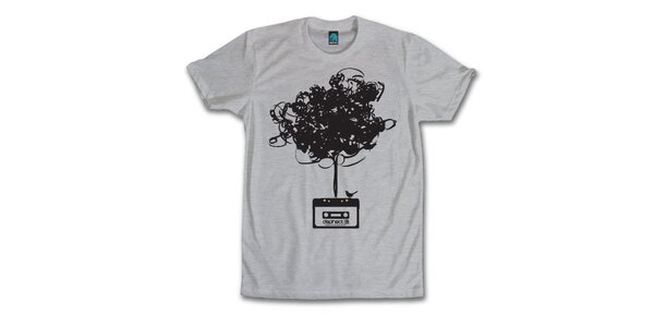 Pánské šedé tričko s vymotanou kazetou Dephect