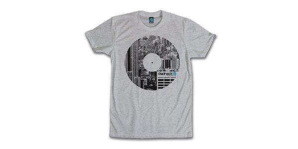 Pánské šedé tričko s potiskem vinylu Dephect