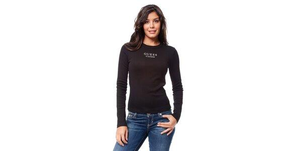 Černé tričko s dlouhým rukávem Guess