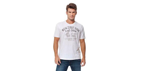 Pánské bílé tričko s šedivým potiskem