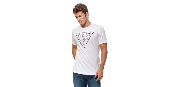 Pánské bílé tričko Guess s černým potiskem