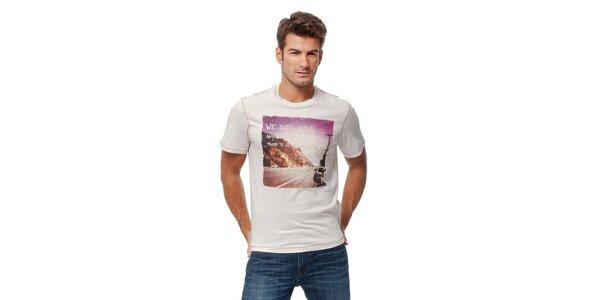 Pánské krémové tričko Guess s barevným foto potiskem