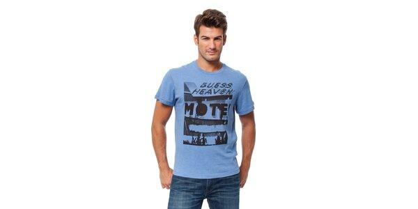 Pánské světle modré tričko Guess s potiskem