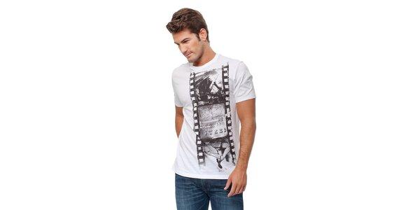 Pánské bílé tričko s potiskem