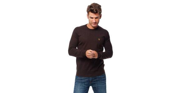 Pánský tmavě hnědý svetr Guess