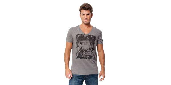 Pánské světle šedé tričko Guess s potiskem