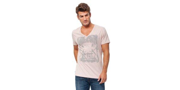 Pánské světle růžové tričko Guess s potiskem