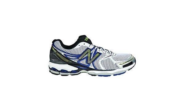 Pánské černo-bílé běžecké boty New Balance se žlutými a modrými detaily