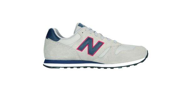 Pánská světle šedá sportovní obuv New Balance s tmavě modrými detaily
