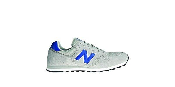 Pánská světle šedá sportovní obuv New Balance s modrými detaily