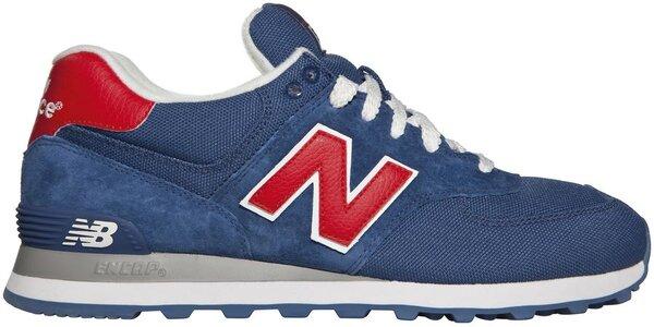 Pánská tmavě modrá sportovní obuv New Balance s červenými detaily