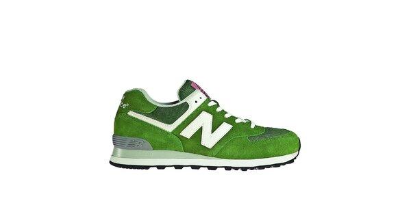 Pánská světle zelená sportovní obuv New Balance s bílými detaily