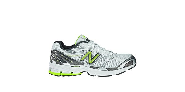 Pánské šedo-bílé běžecké boty New Balance se žlutými detaily