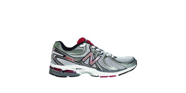 Pánské šedo-bílé běžecké boty New Balance s růžovými detaily