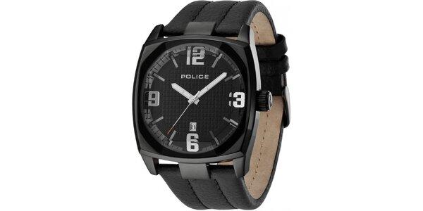 Pánské černé analogové hodinky s koženým řeminkem Police