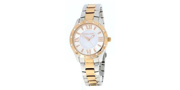 Dámské pozlacené analogové hodinky v zlato-stříbrné barvě Police