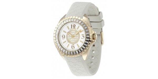 Dámské pozlacené analogové hodinky s bílým řemínkem Police