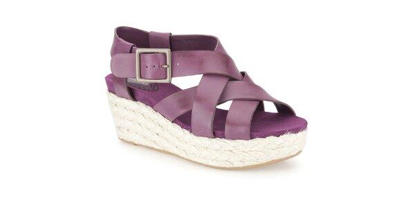 Dámské fialové sandálky na bílém klínku Clarks