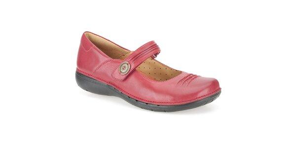 Dámské červené kožené baleríny Clarks