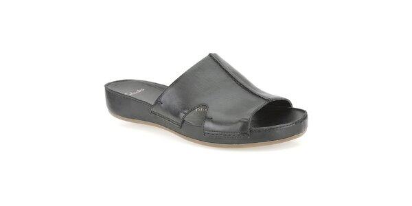 Dámské černé kožené pantofle Clarks