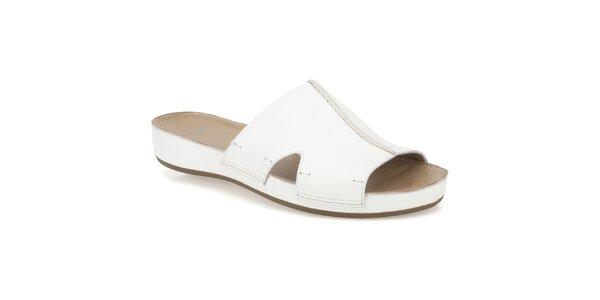 Dámské bílé kožené pantofle Clarks