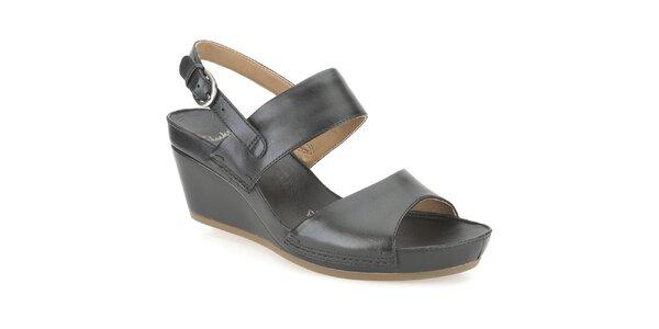 Dámské černé kožené sandále Clarks