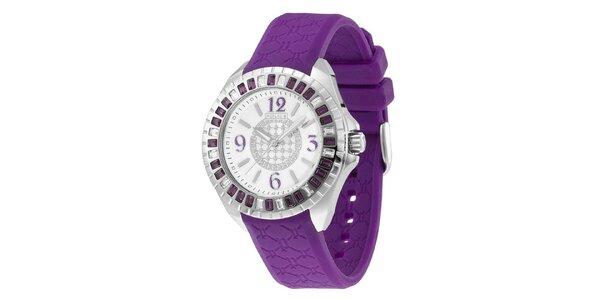 Dámské analogové hodinky s fialovým řemínkem Police