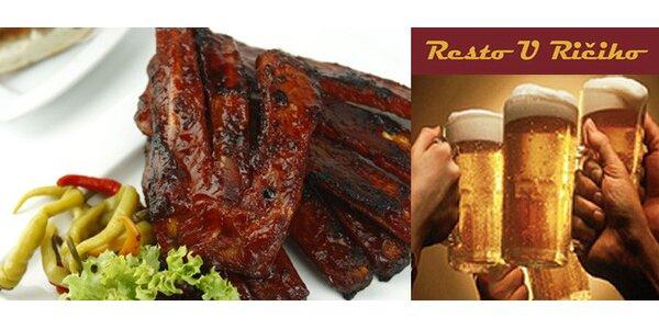 Pouhých 99 Kč za uzená žebra a velké pivo v restauraci U Ričiho! Sleva 46%!