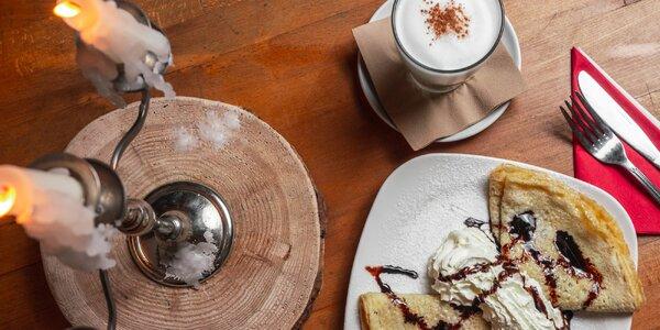 Sladká palačinka dle výběru a káva či čokoláda