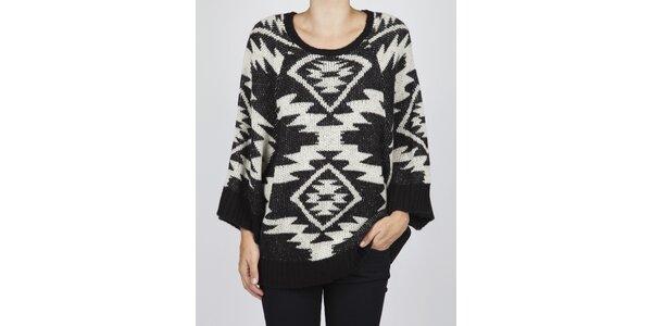 Dámský černobílý svetr Dex s aztéckým vzorem