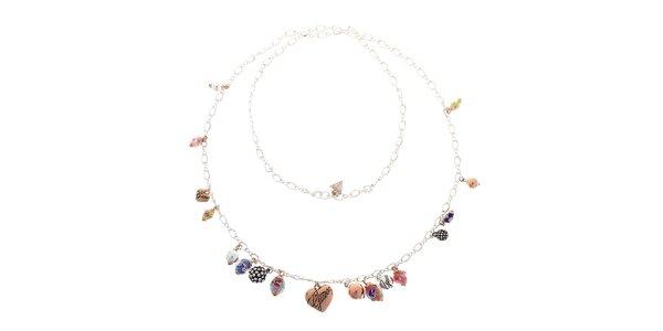 Dámský ocelový náhrdelník Guess s malovanými korálky