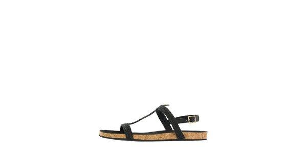 Dámské černé kožené sandály Flip Flop