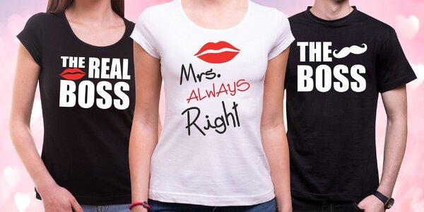 Partnerská trička nejen k Valentýnu, více druhů