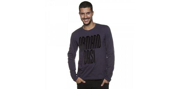 Pánské tmavě fialové tričko Armand Basi s dlouhým rukávem