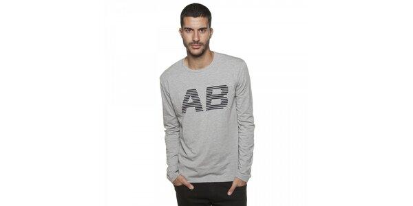 Pánské šedé melírované tričko Armand Basi s potiskem