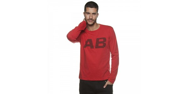 Pánské červené tričko Armand Basi s dlouhým rukávem a potiskem