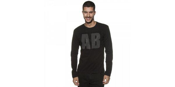 Pánské černé tričko Armand Basi s kamínky a dlouhým rukávem