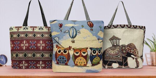 Prostorné látkové tašky se sovičkami a slony